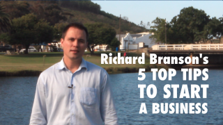 Image of video of Branson's 5 top tips on how to start your business