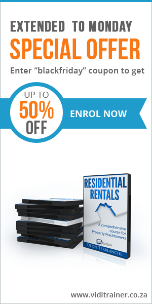 Image of Black Friday flyer for Residential Rentals online course for South African estate agents